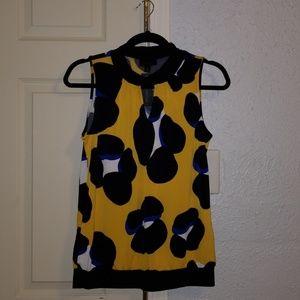 Yellow/Blue Leopard Print Sleeveless Top